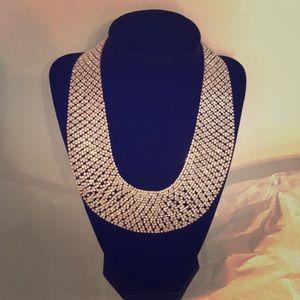 Natasha Rose Gold Tone Rhinestone Collar Necklace